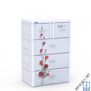 Tủ nhựa Tabi L 4 tầng - Trắng hoa đỏ